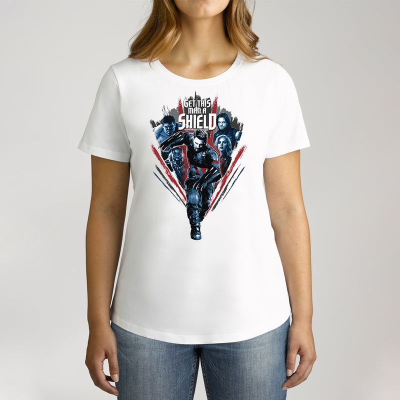 Twidla Women's Marvel Avengers Infinity War Get This Man a Shield Cotton Tee