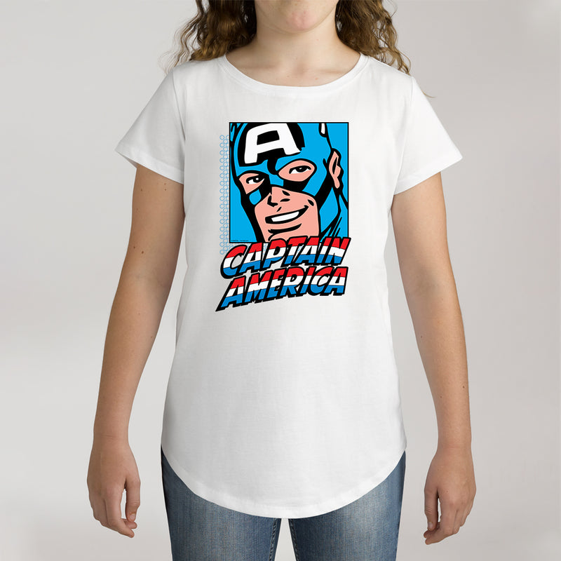 Twidla Girl's Marvel Captain America Cotton Tee
