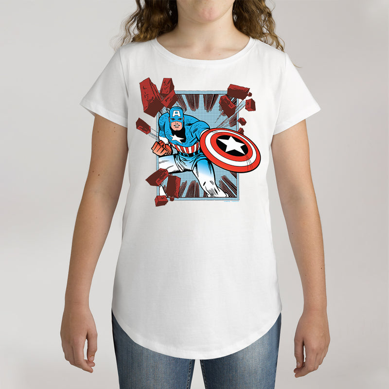 Twidla Girl's Marvel Captain America Action Cotton Tee