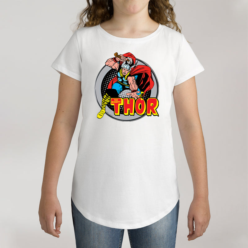 Twidla Girl's Marvel The Mighty Thor Action Cotton Tee