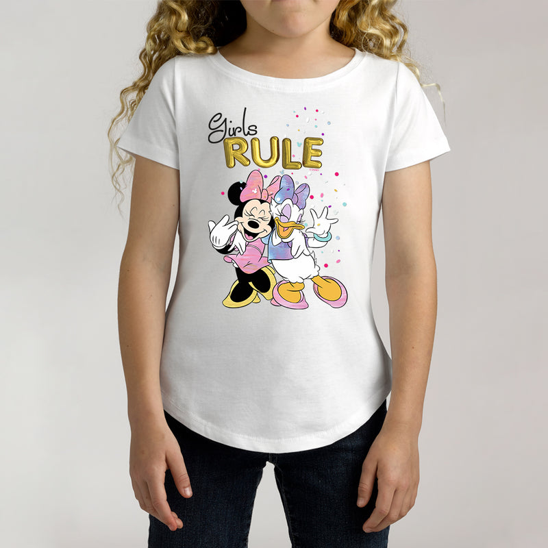Twidla Girl's Disney Minnie Mouse Girls Rule Cotton Tee