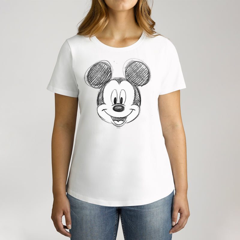 Twidla Women's Disney Mickey Mouse Sketch Cotton Tee