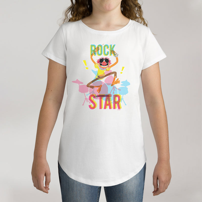 Twidla Girl's The Muppets Animal Rock Star Cotton Tee