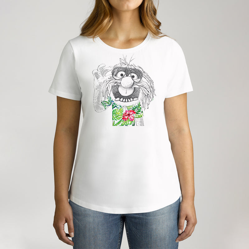 Twidla Women's The Muppets Hawaiian Animal Cotton Tee