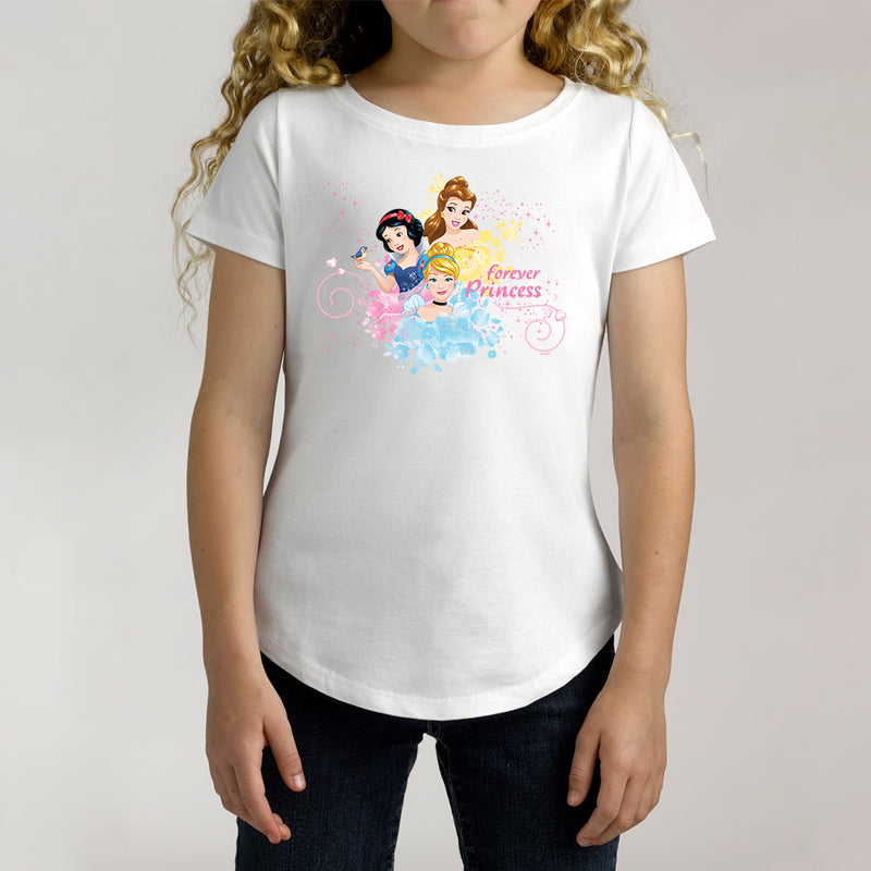 Twidla Girl's Disney Princess Forever Princess Cotton Tee