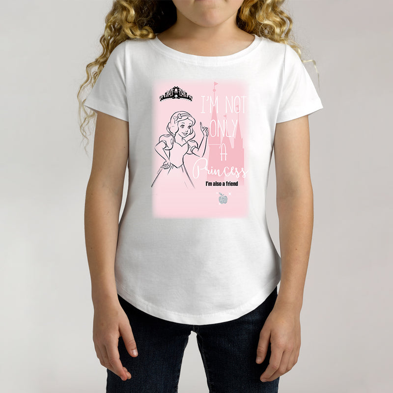 Twidla Girl's Disney Princess Not Only A Princess Cotton Tee