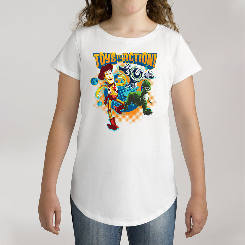 Twidla Girl's Disney Toy Story Toys In Action Cotton Tee