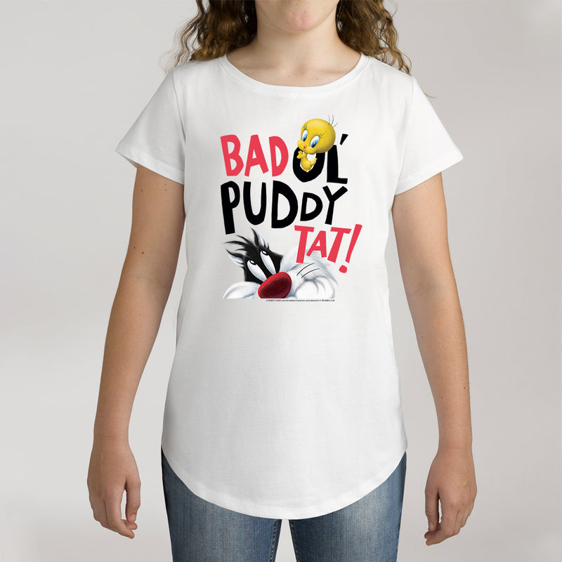 Twidla Girl's Looney Tunes Tweety & Sylvester Bad Puddy Tat Cotton Tee