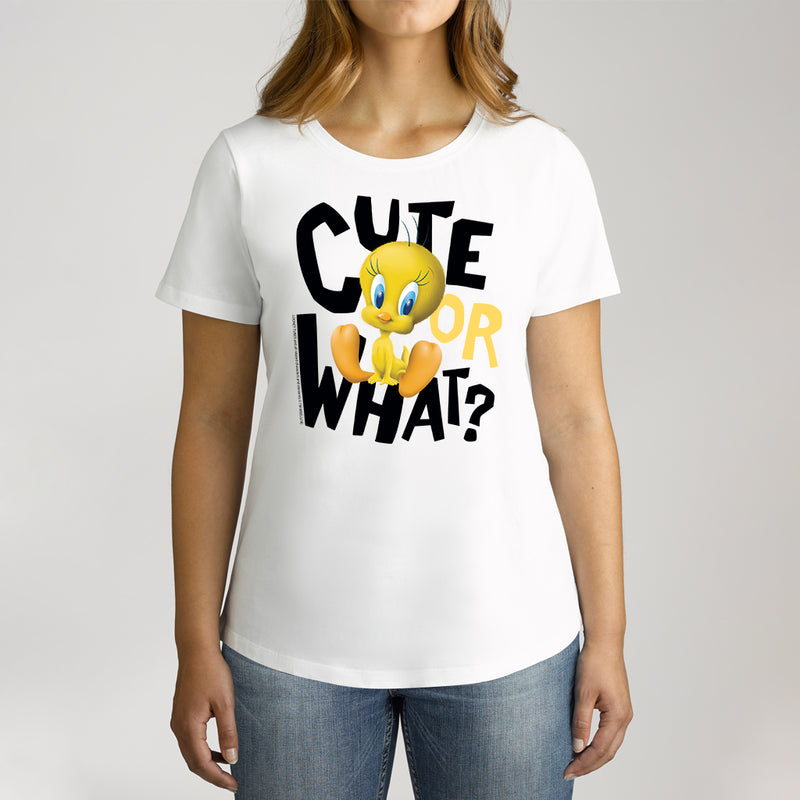 Twidla Women's Looney Tunes Tweety Cute or What? Cotton Tee