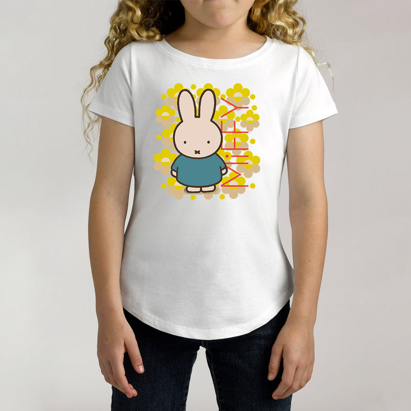 Twidla Girl's Miffy Fluro Flowers Cotton T-Shirt