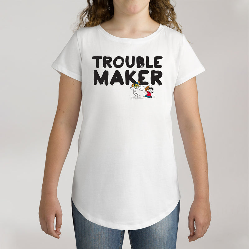 Twidla Girl's Peanuts Trouble Maker Cotton T-Shirt