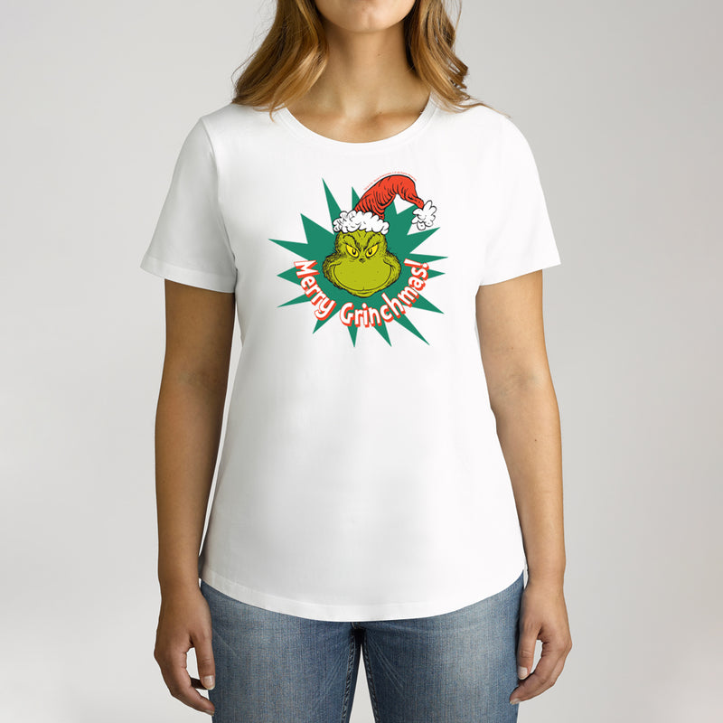 Twidla Women's Dr.Seuss Merry Grinchmas Cotton T-Shirt