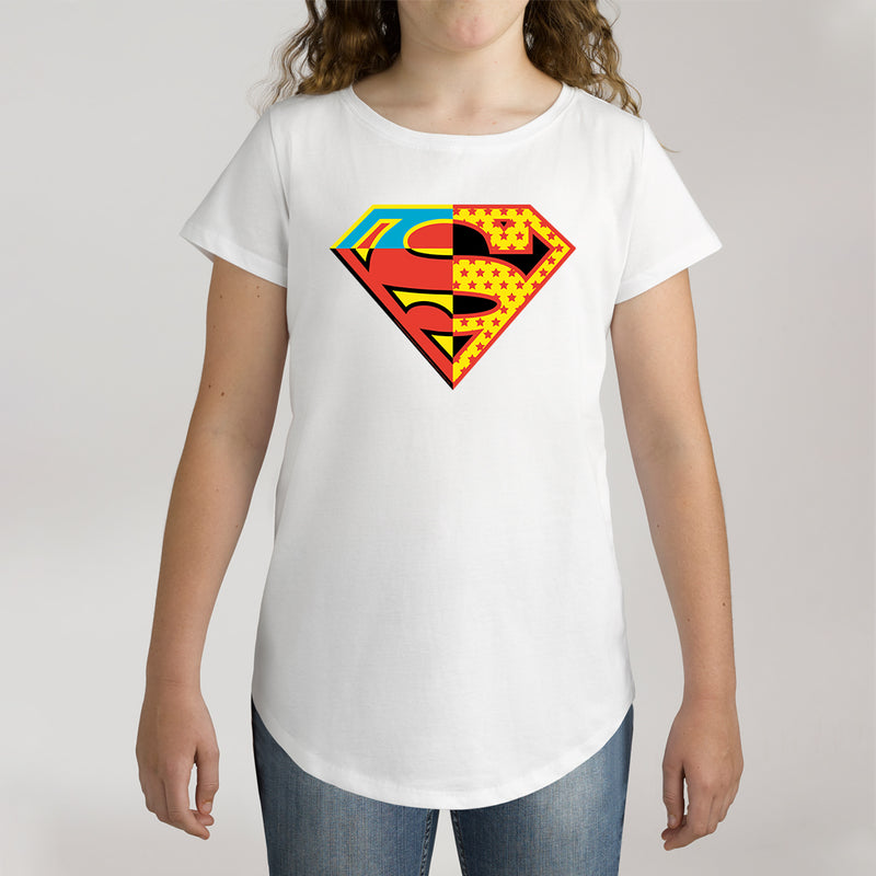 Twidla Girl's DC Superman Contrast Colour Logo Cotton Tee