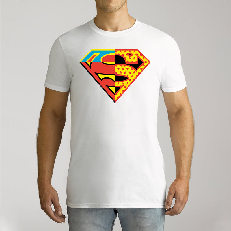 Twidla Men's DC Superman Contrast Colour Logo Cotton Tee