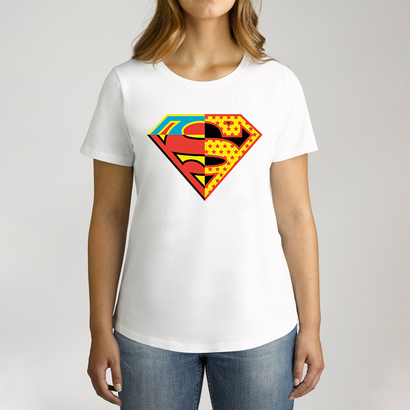 Twidla Women's DC Superman Contrast Colour Logo Cotton Tee