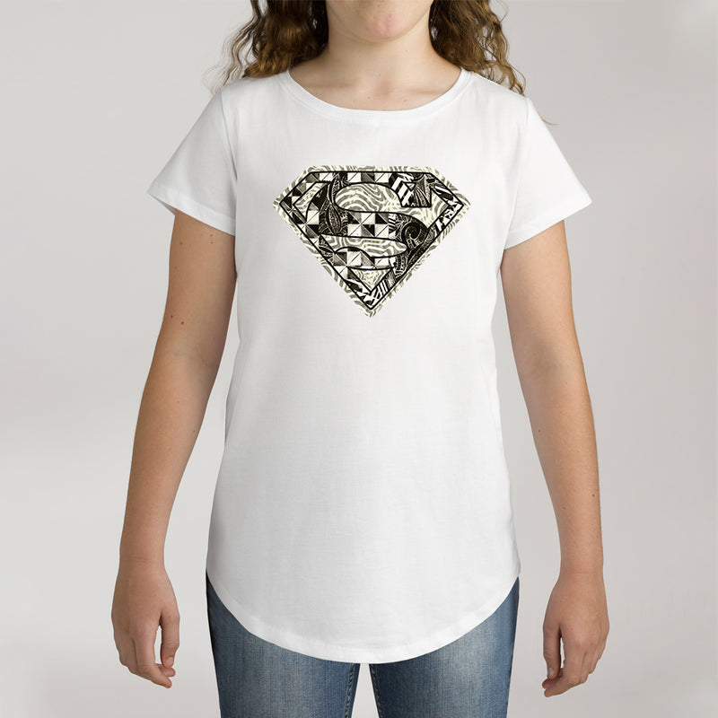 Twidla Girl's DC Superman Monochrome Logo Cotton Tee