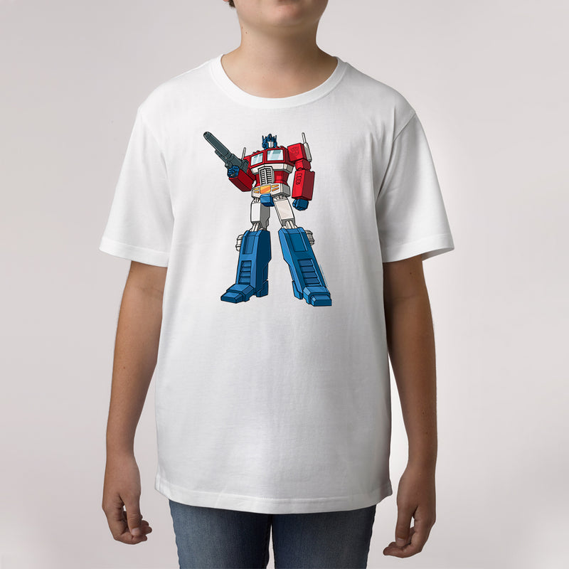 Twidla Boy's Transformers Optimus Prime Standing Strong Cotton Tee