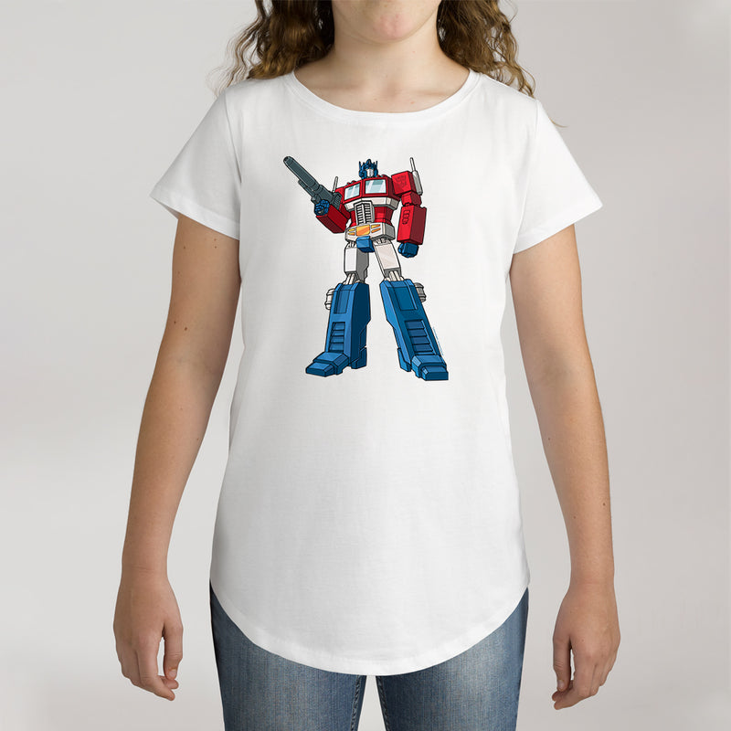Twidla Girl's Transformers Optimus Prime Standing Strong Cotton Tee