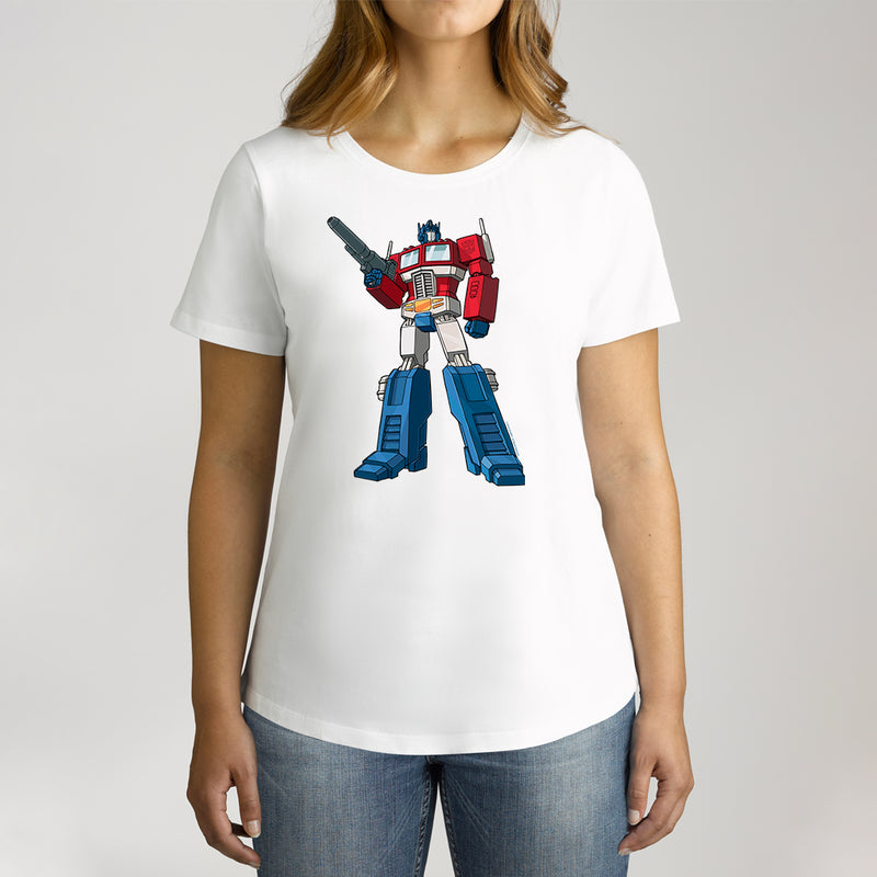 Twidla Women's Transformers Optimus Prime Standing Strong Cotton Tee