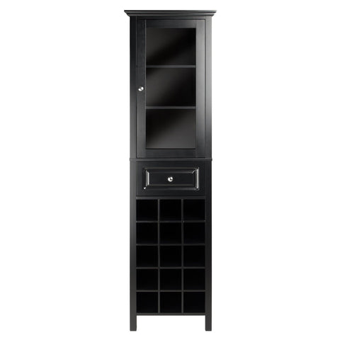 Winesome Burgundy Wine Cabinet 15-Bottle with Glass Door - Black Out