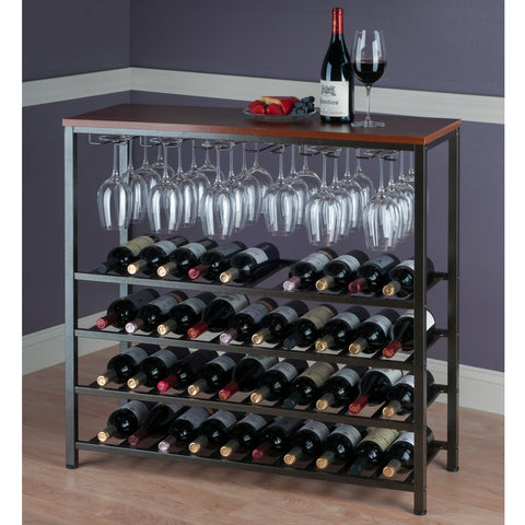 Winesome Michelle Wine Rack with Glass Hanger / Rack - Black Out