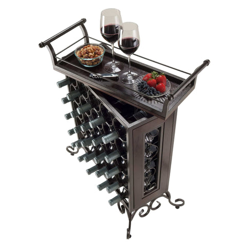 Winesome 25-Bottle Wine Rack Removable Tray - Black Out