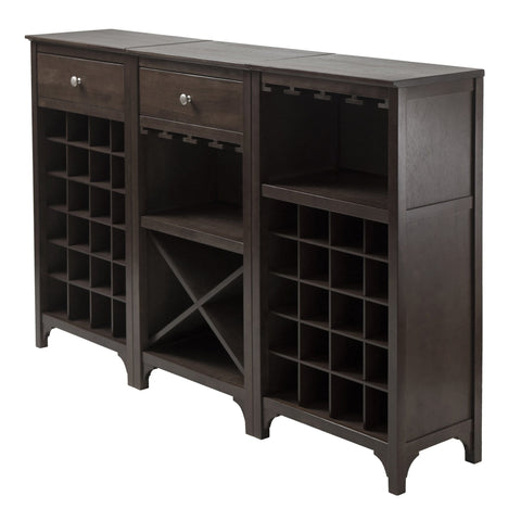 Winesome Ancona 3-Piece  Modular Wine Cabinet Set - Black Out