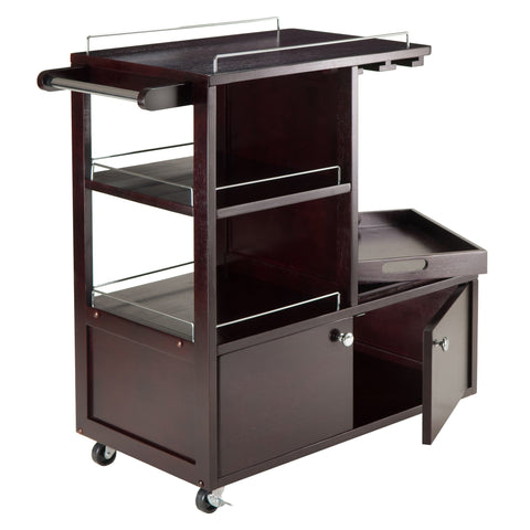 Winesome Modern Galen Entertainment Cart in Espresso - Black Out