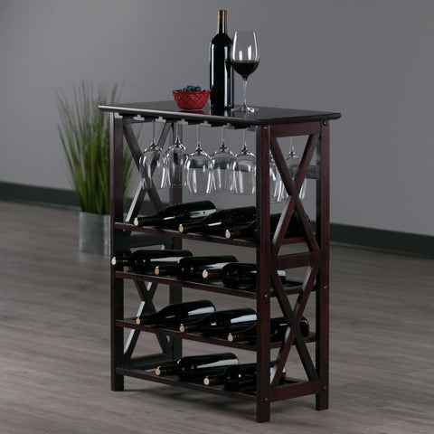 Winesome Rio Wine Rack with 24-Bottle and Glass Hanger - Black Out