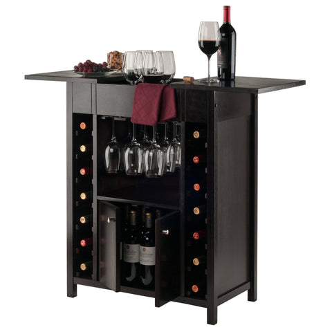 Winesome Wood Yukon 14 Slot Wine Cabinet - Black Out