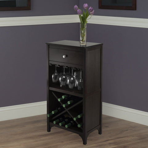 Winesome Ancona Modular Wine Cabinet with One Drawer, Glass Rack, X Shelf - Black Out