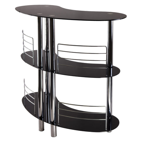 Winesome Wood Martini Entertainment 3 Shelves with Black Glass & Steel - Black Out