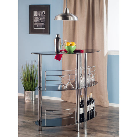 Winesome Martini Entertainment 3 Shelves with Black Glass & Steel - Black Out