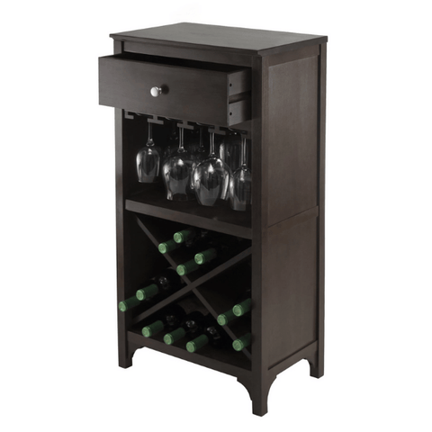 Image of Winesome Ancona Modular Wine Cabinet with One Drawer, Glass Rack, X Shelf