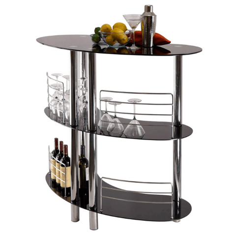 Winesome Martini Entertainment 3 Shelves with Black Glass & Steel