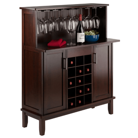 Winesome Wood Beynac 15 Bottles Wine Bar Cappuccino - Black Out