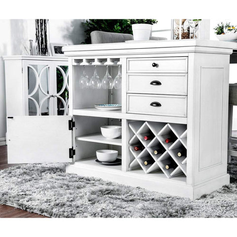 Furniture of America Stanton Transitional Pub Table in Antique White - Black Out