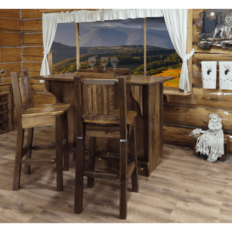 Montana Woodwork Homestead Deluxe Bar with Foot Rail - Stained & Lacquered - Black Out