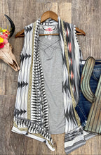 Load image into Gallery viewer, The Grey Aztec Vest Cardigan