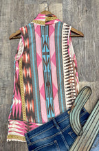Load image into Gallery viewer, The Pink Aztec Vest Cardigan