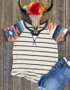 The Striped Aztec Print Top