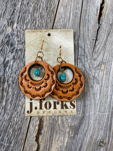 The Stamped Leather Circle Earrings