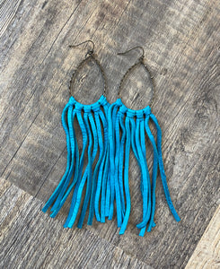 The Teal Fringe Earrings
