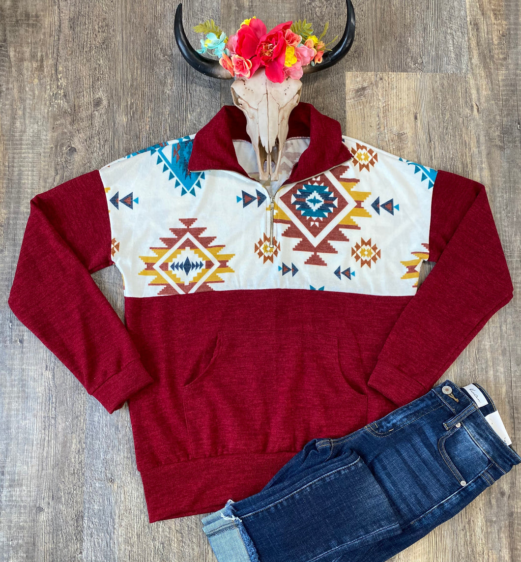 The Burgundy Aztec Pullover