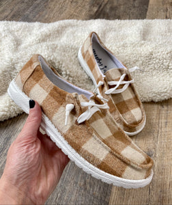 The Tan Plaid Sneaker