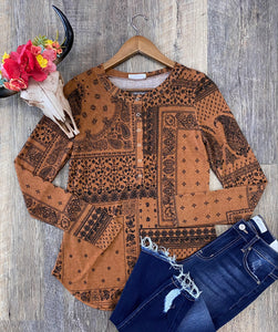 The Rust Paisley Long Sleeve Top