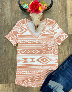 The Coral Aztec Top