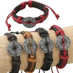 Bluelans Unisex Knit Multilayer Flower Round Charms Faux Leather Tribe Jewelry Bracele