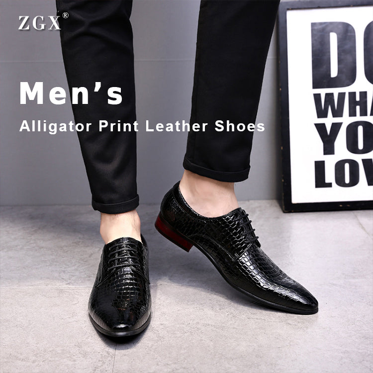 Men's Alligator Print Leather Shoes