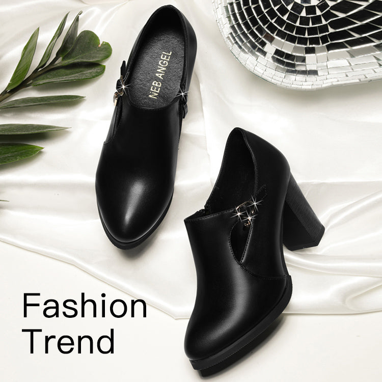 Black Heel Low Rise Leather Shoes